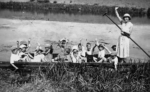 Fenstanton school children punting on the Great Ouse
